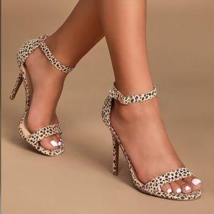NIB LULUS Elsi Cheetah Suede Single Strap Heels 6